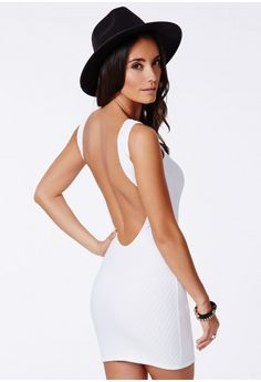 Missguided - Taifa White Textured Backless Dress