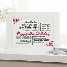 50th Birthday Gift for Him of Typographic Art Print. 18th Birthday Gifts ...