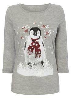 Grey marl 3/4 Sleeve Christmas Print Penguin T-Shirt - Wedding Sale - Wedding - BHS
