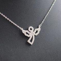Angyal medál cirkónia kövekkel, ezüst nyakláncon Silver, Shopping, Jewelry, Fashion, Moda, Jewlery, Money, Bijoux, Fashion Styles