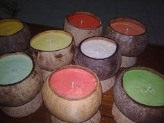 Making Coconut Shell Candle in 3 Simple Steps.      Good for zen bathroomsm.  :)