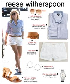 Reese Witherspoon was cool and collected in crisp white shorts and a pale blue button-up