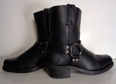 Frye 77455 Harness 8R Black Leather Motorcycle Short Boots Women's Size 8.5