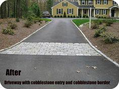 Cobblestone border and entry to asphalt driveway Landscaping On A Hill, Asphalt Driveway, Landscaping Supplies, Landscaping Ideas, Walk This Way, Cool Landscapes, Dream Garden, Landscape Design, Building A House