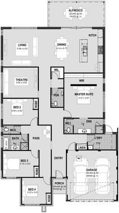 Narrow House Designs, Narrow House Plans, Family House Plans, Dream House Plans, House Floor Plans, My Dream Home, Floor Plan 4 Bedroom, Bedroom House Plans, Home Design Floor Plans