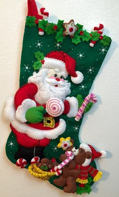 Bucilla Santa and Teddy Bear Felt Christmas Stocking by LouLous6