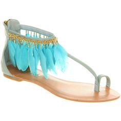 Office Souffle feather sandal turquoise