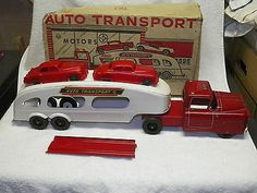 MARX-Pressed-Steel-AUTO-TRANSPORT-CAR-CARRIER-TRUCK-w-BOX-Excellent