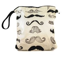 Knitting Project Bag - Small/Sock Drawstring WIP Bag - Moustache. $20.00, via Etsy.