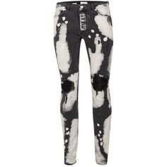 TOPMAN Black Bleach Splat Ripped Stretch Skinny Jeans ($56) ❤ liked on Polyvore featuring men's fashion, men's clothing, men's jeans, black, mens bleached jeans, mens torn jeans, mens super skinny ripped jeans, mens distressed skinny jeans and mens super skinny jeans