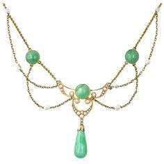 Krementz Brooch | Art Nouveau Krementz Jade and Pearl Necklace