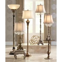 Traditional Console Table Lamp Antique Gold Crystal for Bedroom Living Room Bright Floor Lamp, Led Floor Lamp, Cool Floor Lamps, Floor Lamp Shades, Traditional Console Tables, Adjustable Floor Lamp, Torchiere Floor Lamp, Modern Light Fixtures, Clock Decor