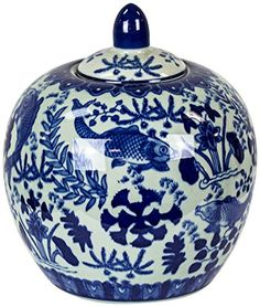 Carol 9 Blue and White Round Ceramic Covered Jar * Learn more by visiting the image link. (Note:Amazon affiliate link)