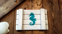 Cute SEA HORSE Sea Horse Art Sign Made From by MySalvagedPast
