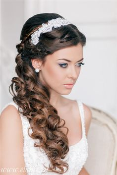 French braided half up wavy wedding hairstyle with headpiece - Deer Pearl Flowers