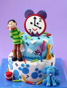 """wonder how hard it would be to do one of these cakes? Blues Clues Cake by """"Ons boek: The making of"""" Pretty Cakes, Beautiful Cakes, Amazing Cakes, Fondant Cakes, Cupcake Cakes, Cupcakes, Mini Cakes, Blue's Clues, Clue Party"""