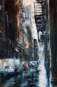 Cortlandt Alley, rain Desert Road, Ballerina Painting, Watercolor Architecture, Funny Wallpapers, Gotham City, Watercolor Paintings, Watercolour, Art Lessons, Underwater
