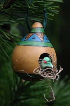 Rustic Springtime Gourd Ornament  Blue and Green by myladyofgourds, $10.00
