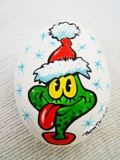 Christmas Holiday Frog Paperweight  -  Hand Painted - One of a Kind