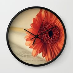 #photography #gerbera #flowers #floral #girly #pretty #orange #wallclock #nature available in different #homedecor products. Check more at society6.com/julianarw