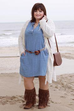 Plus Size Hippie Glam Outfit with Jeans dress and wide calf boots ✿ mein Hippie Glam Outfit mit einem Jeanskleid und braunen Weitschaftstiefeln