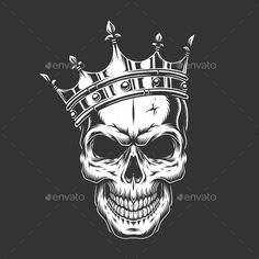 Vintage Prince Skull in Crown - # tattoo mann vorlagen skull Crown Tattoo Men, Crown Tattoo Design, Skull Tattoo Design, Skull Design, Tattoo Designs, Indian Skull Tattoos, Skull Hand Tattoo, Sugar Skull Tattoos, Lion Tattoo