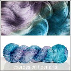 Expression Fiber Arts, Inc. - MERMAID HAIR SHIMMERING CASHMERE FINGERING, $34.00 (http://www.expressionfiberarts.com/products/mermaid-hair-shimmering-cashmere-fingering.html)