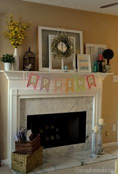Springy mantel (decorated with yard sale finds)