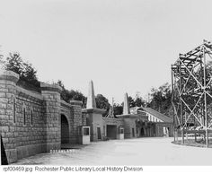 """Glen Haven Amusment Park, 1908, was located on the West shore of Irondequoit Bay, Rochester, New York.  The figure eight roller coaster can be scene on the right.  The park was called """"Dreamland"""" for a period of time.  After the park was abandoned in the 1920's, Seabreeze park adopted the name """"Dreamland"""" for many years."""