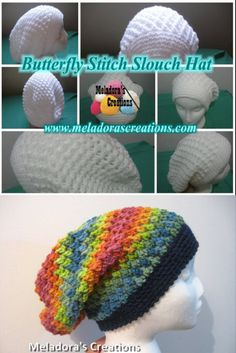 Butterfly Stitch Slouch Hat – Free Crochet pattern Butterfly Stitch Slouch Hat – Free Crochet Pattern and tutorials – Meladora's Creations Best Picture For Crochet. Crochet Adult Hat, Crochet Slouchy Hat, Crochet Patron, Crochet Cap, Cute Crochet, Crochet Scarves, Crochet Crafts, Crochet Clothes, Knitted Hats