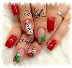 frozen nails shared by gabidino on We Heart It Xmas Nail Art, Cute Christmas Nails, Christmas Nail Art Designs, Holiday Nails, Olaf Nails, Frozen Nails, Teen Nails, Cure Nails, Coffin Shape Nails