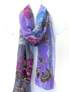 Hand Painted Silk Scarf Floral Purple Yuzen by SilkScarvesTakuyo, $295.00