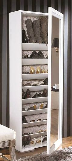 shoe cabinet with a mirror Closet Bedroom, Bedroom Decor, Shoe Closet, Home Furniture, Furniture Design, Shoe Cabinet, Shoe Cupboard, Shoe Organizer, My Room