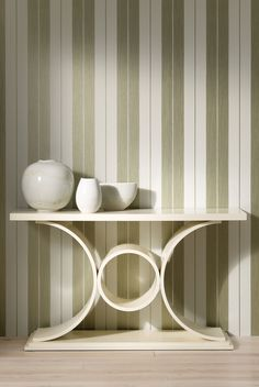 Bothwell Luxury Wallpaper from Nina Campbell. A two-tone stripe of metallic or mica with contrasting coloured ground. Luxury Wallpaper, Designer Wallpaper, Nina Campbell Wallpaper, Interior Decorating, Interior Design, Luxury Homes, Entryway Tables, Art Deco, Storage