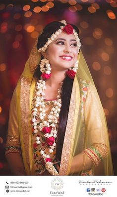 Bridal Outfits and Bridal Jewelry for Haldi Ceremony. Outfits and adornments the bride, groom and the relatives wear for the Haldi ceremony Indian Wedding Outfits, Bridal Outfits, Flower Jewellery For Mehndi, Flower Jewelry, Jewelry Box, Zuni Jewelry, Jewelry Making, Steel Jewelry, Dainty Jewelry