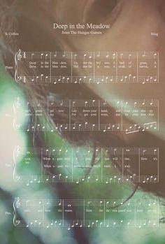 Deep In the Meadow, under the willow piano sheet music Hunger Games Fandom, Hunger Games Catching Fire, Hunger Games Trilogy, Hunger Games Song, Flute Sheet Music, Violin Music, Flute Instrument, Music Sheets, Katniss Everdeen