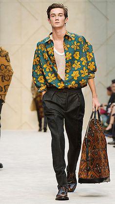 Camicia d'artista in cotone e seta con stampa a foglia | Burberry