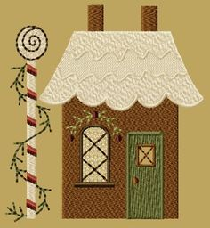 Offering exclusive primitive machine embroidery designs in most formats. Designs for all Holidays, seasons and every day. House Quilt Patterns, House Quilt Block, House Quilts, Quilt Blocks, Fabric Houses, Cardboard Gingerbread House, Gingerbread House Patterns, Gingerbread Village, Gingerbread Men