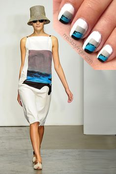 Rachel Comey Inspired Nail Art to DIY. Fricken love these nails.and they dont look TOO hard to do! Funky Nails, Love Nails, How To Do Nails, Nail Art Pen, Cool Nail Art, Beauty Nails, Diy Beauty, The Maxx, Black Nail Art
