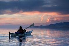 Kayaking in the Great Salt Lake near Antelope Island State Park