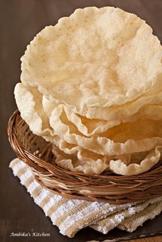 Elai Vadam - Traditional homemade rice papadums from south India. Crispy, cruncy super fun to eat!!