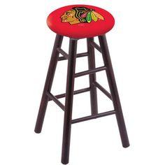 "Holland Bar Stool NHL 30"" Bar Stool with Cushion NHL Team: Chicago Blackhawks - Red, Finish: Dark Cherry"