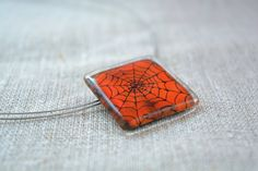Halloween necklace  Fused glass pendant  Spider by BGLASSbcn