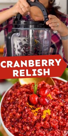 This SIMPLE four ingredient holiday side dish is going to be a recipe you tresure! Your family will love this Cranberry Relish! Traditional Thanksgiving Recipes, Best Thanksgiving Recipes, Homemade Stuffing, Stuffing Recipes, Dinner Dishes, Food Dishes, Cranberry Orange Relish, Thanksgiving Plates, Relish Recipes