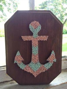 Chevron Anchor Custom String Art Design beach by BlossomsNKnots