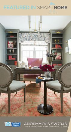 """The #HGTVSmart Home 2016 office shows that you can be all business while still expressing your creative side. Bold vases and plants are paired with trendy chairs and quiet paint selections from the Neutral Nuance Color Collection to help save you from """"all work and no play."""" Enter the HGTV sweepstakes for a chance to win this home — click the Pin for more information! NO PURCHASE NECESSARY. Ends 6/2/16. To enter and for complete details, visit www.HGTV.com"""