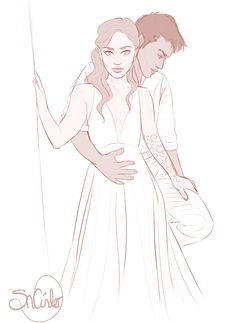 "sncinder: "" Feyre and Rhys WIP pls excuse rhys hair """