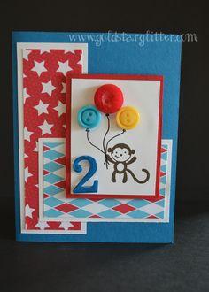 Child Balloon Birthday Card.  www.goldstarglitter.com