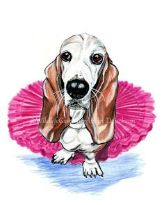 Basset Hound in Pink Tutu, Whimsical Realistic pet portrait, dog art, wall decor 8 x 10 Unframed Archival Art Print from my original watercolor painting. Whimsical dog art, fun pop of color. Based on Bella the Basset Hound, who has worn a tutu many times as a therapy dog Please note mattes and frames are not included Description