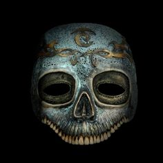 Beautiful teal and gold skull mask by Graf Santaniel